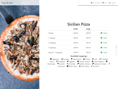 Italian Restaurant Order - Sicilian Pizza order website pizza food order restaurant italian restaurant italian food