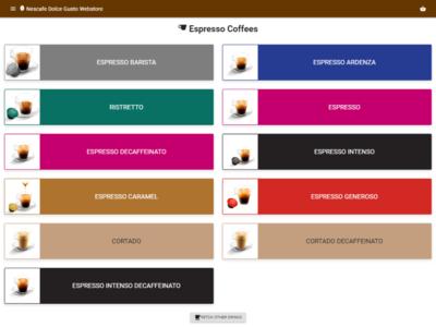 Nescafe Dolce Gusto Webstore - Category coffee nescafe dolce gusto webstore website bean ecommerce
