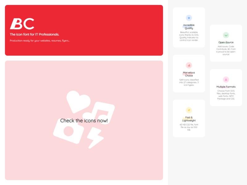BC-Font website: Redesign (1/3) typography ui landing website iconfont icon font