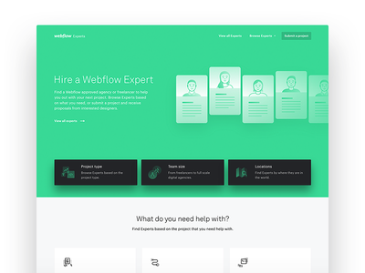 Webflow Experts (old hero iteration) illustration green experts webflow web design