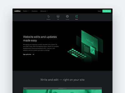 Webflow Editor Page illo navigation product page editor isometric illustration webflow web design
