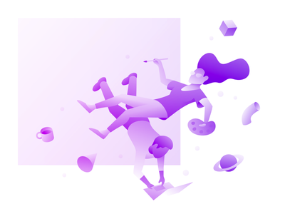 WIP Illustration create float people gradient webflow illustration wip