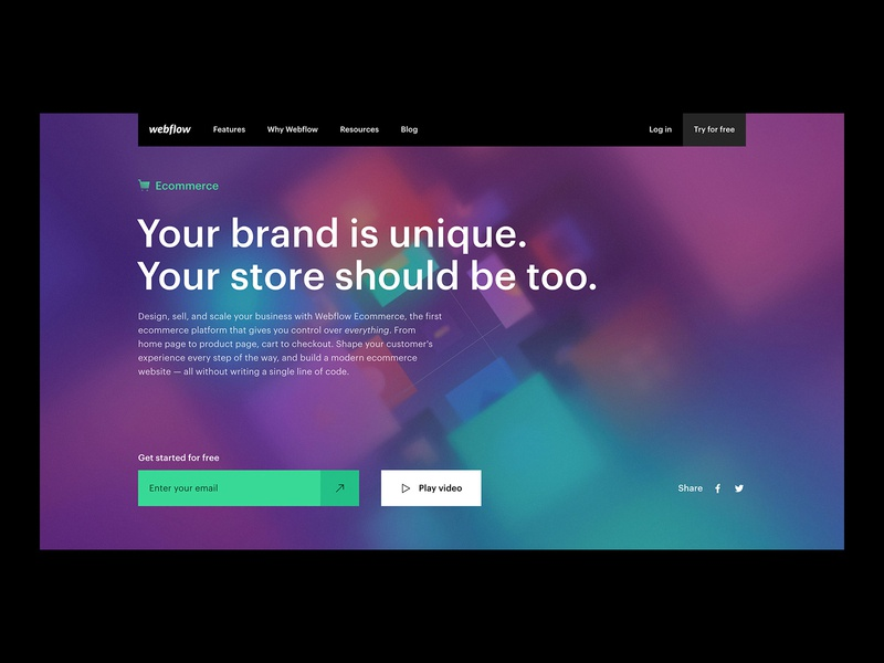 Webflow Ecommerce feature landing page web webflow ecommerce web design