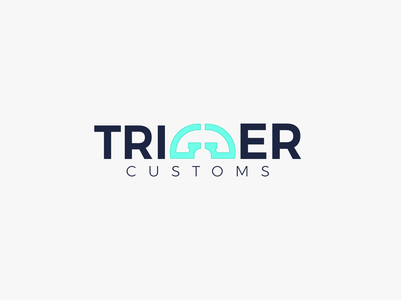 Trigger Customs Wordmark Logo Design gg blue trigger controller game branding logo design minimalistic logo design vector illustrator typogaphy