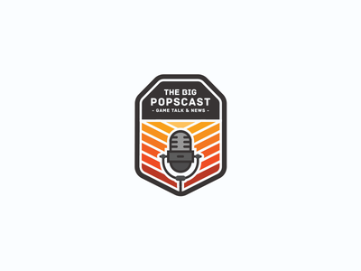The Big Popscast Logo Design vector warm logo design illustrator microphone podcast badge