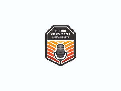 The Big Popscast Logo Design vector warm logo design illustrator microphone podcast badge