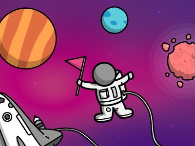 Hello (Dribbble) World! shot debut hello spacecraft lineart space astronaut planets