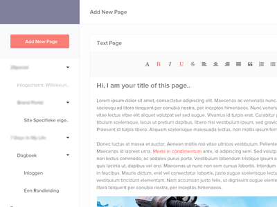 Add New Page cms content management text editor flat minimal ui user interface interface simple wip ux gui