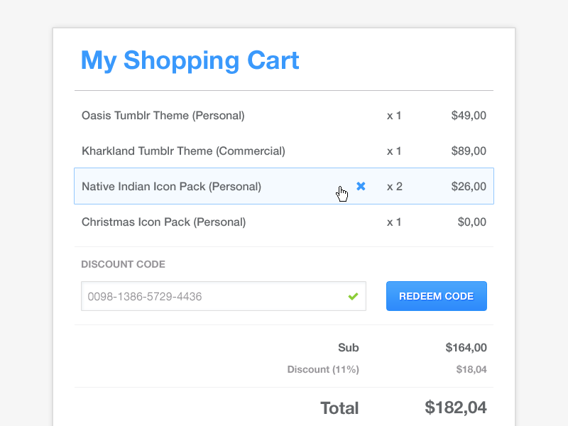Shopping Cart [Freebie] freebie ui user interface interface clean minimal free