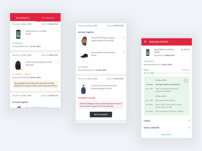 Snapdeal order screens order delivery tracking my order e commerce transit