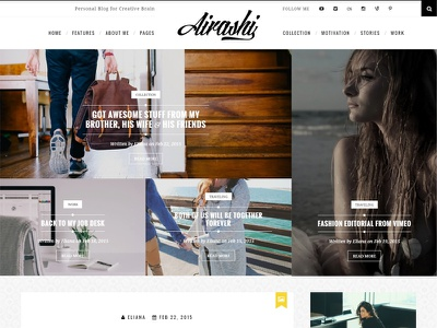 Airashi clean personal wordpress blog theme blogging web design light white unsplash wordpress website blog hero