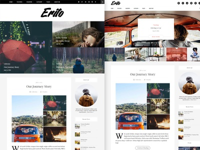 Erīto V1.1.0 | Personal Blog WordPress Theme teaser hero blog website wordpress unsplash white light web design blogging