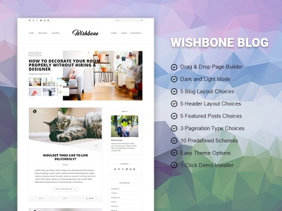 Wishbone Blog hero blog website wordpress unsplash white light web design blogging