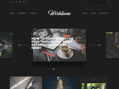 Wishbone - A Clean & Powerful WordPress blogging theme blogging web design light white unsplash wordpress website blog hero
