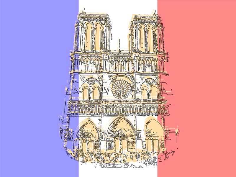 Notre Dame france notre dame vector drawing illustration design
