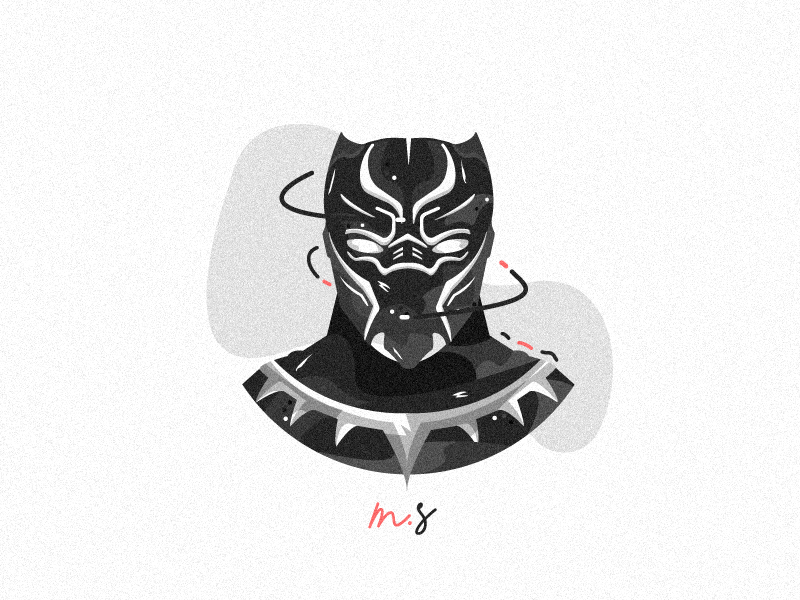 Flat Black Panther infinitywar vector black noise morgansolnon logo illustration dribbble blackpanther