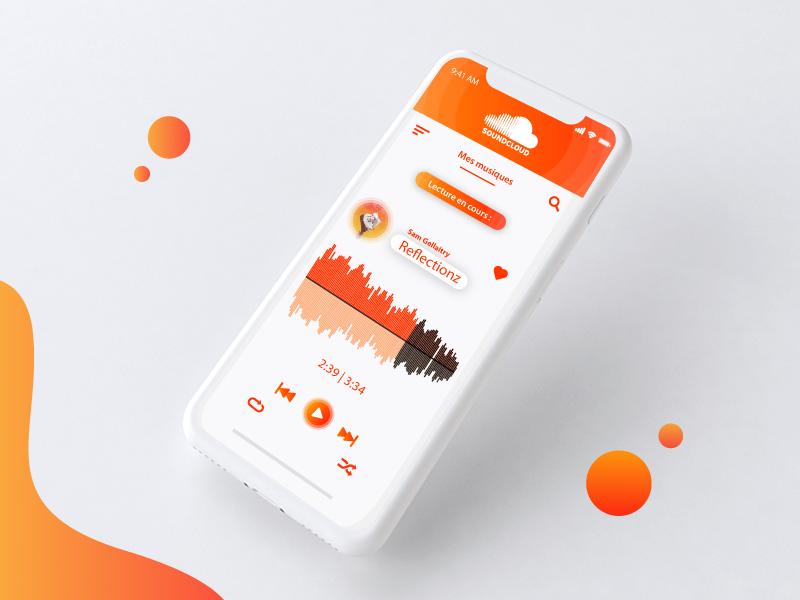 UX - Soundcloud sam gellaitry gradient ux ui instagram illustrator illustration orange flat design circle soundcloud