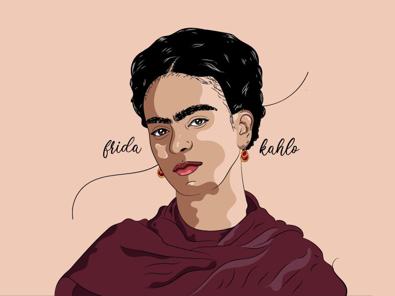 Frida Kahlo portrait frida kahlo design avatar dribbble morgansolnon illustration
