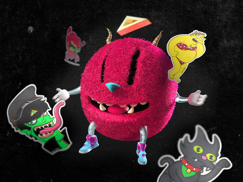 Jeffka & Friends - ft. MuchaBestia photoshop fur dresser hair 3dcharacter characterdesign vrayforc4d modeling design cinema 4d 3d stickers
