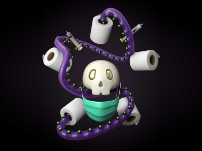 Pandemia 2020 barbijo octopus tentacle green purple domestika 3dmodeling cinema4d skull art skull