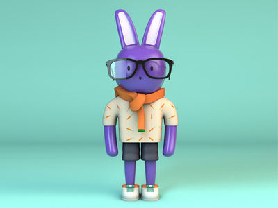 Purple Bunny Character cinema 4d model character 3d bunny purple