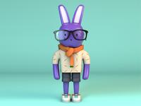 Purple Bunny Character