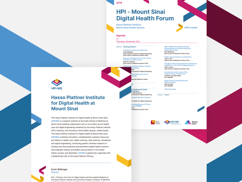 HPI∙MS Collaterals collateral design healthcare digital health institute mount sinai hasso plattner brand branding