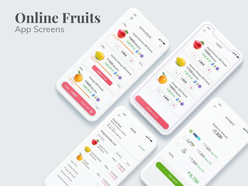 Online Buy Fruits App fruits online fruits mobile app illustration ios vector web typography app ui branding ux design