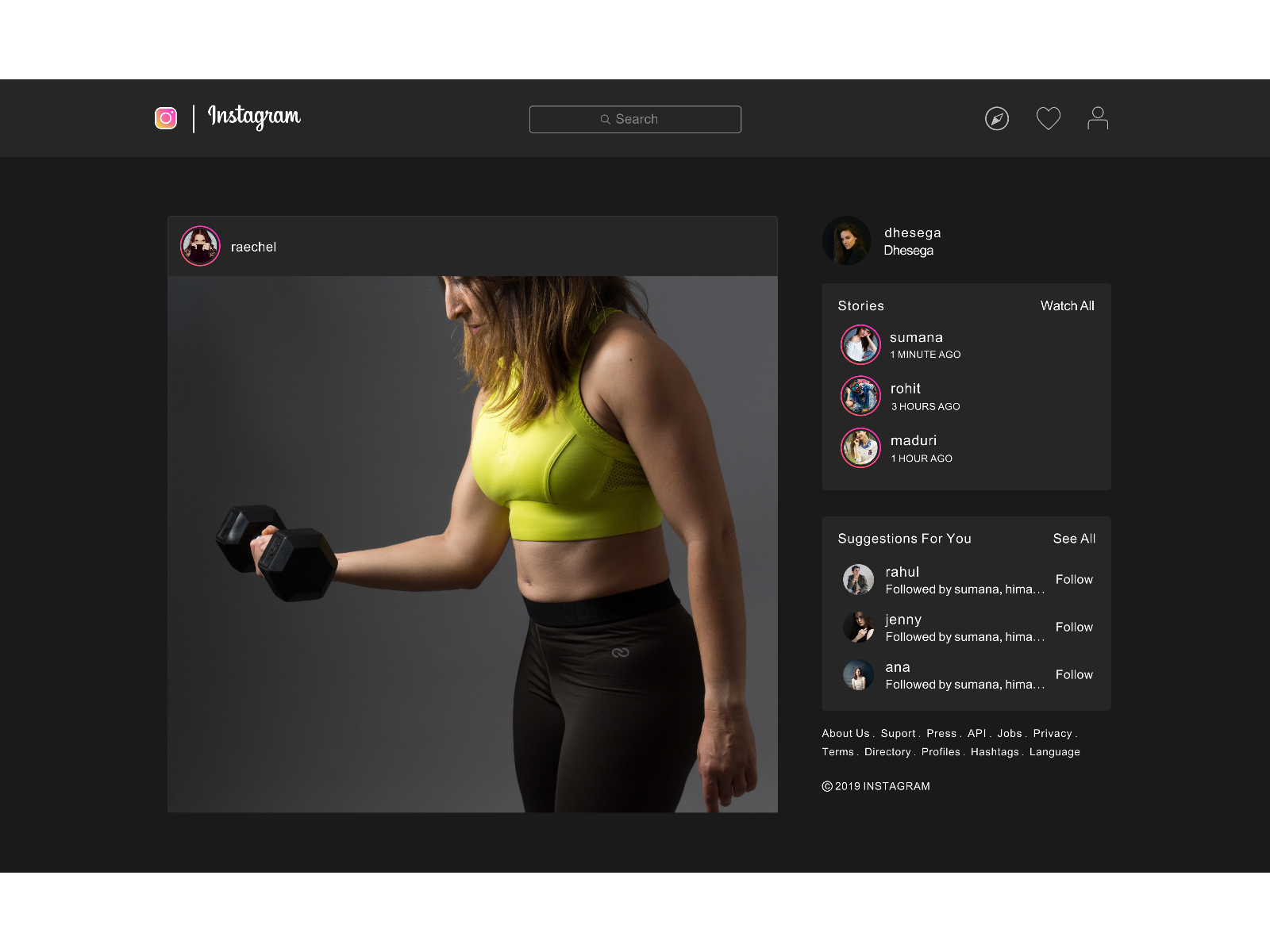 Instagram web Dark mode by Dhesega on Dribbble