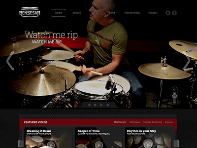 Home Page Mock-up ui drum logo website e-commerce lessons