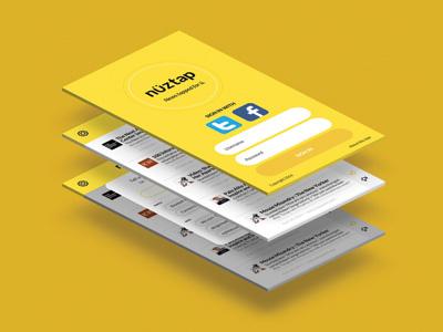 nüztap app news screens uxui mock-up branding yellow logo web app