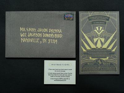 Secret Party Invite Design - Reveal invite silk screen art deco gold gray black heat sensitive magic ink disappearing ink