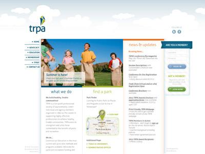 TRPA Website Mock-up (home page) website web front end design mockup ui design