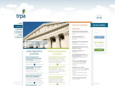 TRPA Website Mock-up (interior page) website web front end design mockup ui design