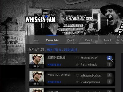 Whiskey Jam Website Mock-up ui design whiskey jam band events venue bar website site musician nashville