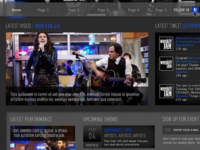 Whiskey Jam Website Home2 ui design whiskey jam band events venue bar website site musician nashville