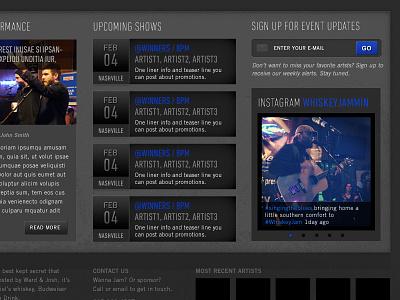 Whiskey Jam Website Home3 ui design whiskey jam band events venue bar website site musician nashville