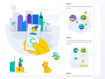 Badi Homepage Illustrations landing page website real estate clean flat visual identity branding vector web user inteface illustration ux app motion animation interaction design ui