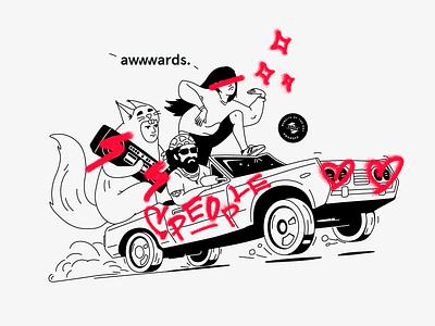 🎊When we won awwwards!!! 🏆 squirrel man girl car vector illustration