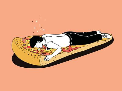 🍕dream pizza 😴 vector illustration sleep dream man pizza pizza box