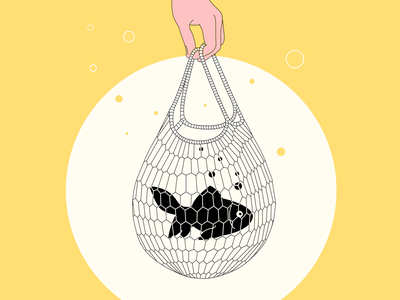 🙇The bad news: plastic is not food 🐟 bag plastic bag hand yellow plastic fish illustration