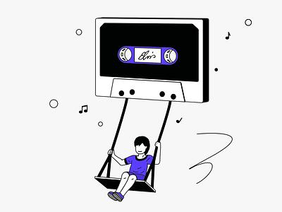 📼Retro Cassette 😎 elvis children swing music retro casette illustration