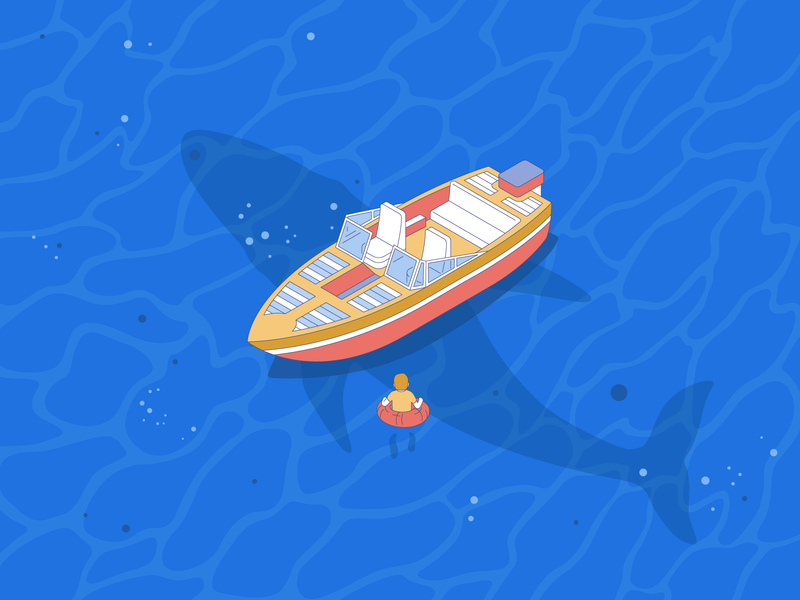 Waterfail 🙀 whale yacht swiming fish ship vector man water illustration
