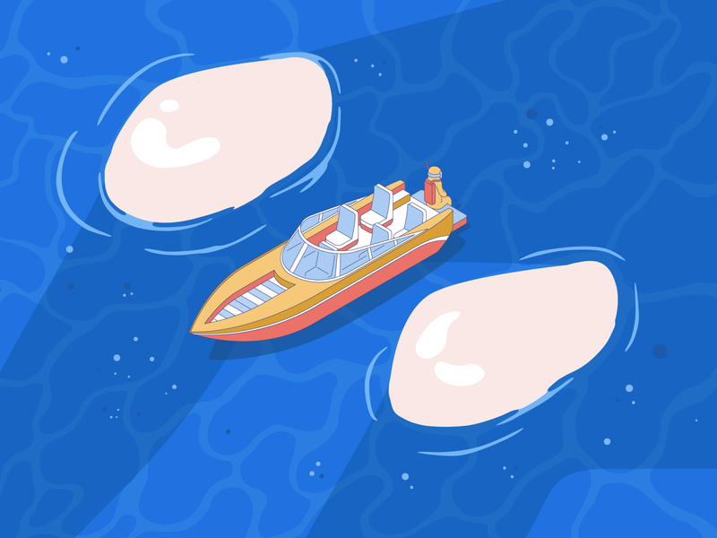 🌊Sea cave exploring 😜 waves vector man boat water sea caves illustration
