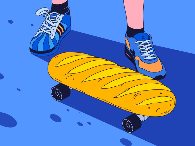 👟If you want to start skateboarding... 🍞 bread brand shoelaces legs sport sneakers skate skateboarding adidas nike illustration
