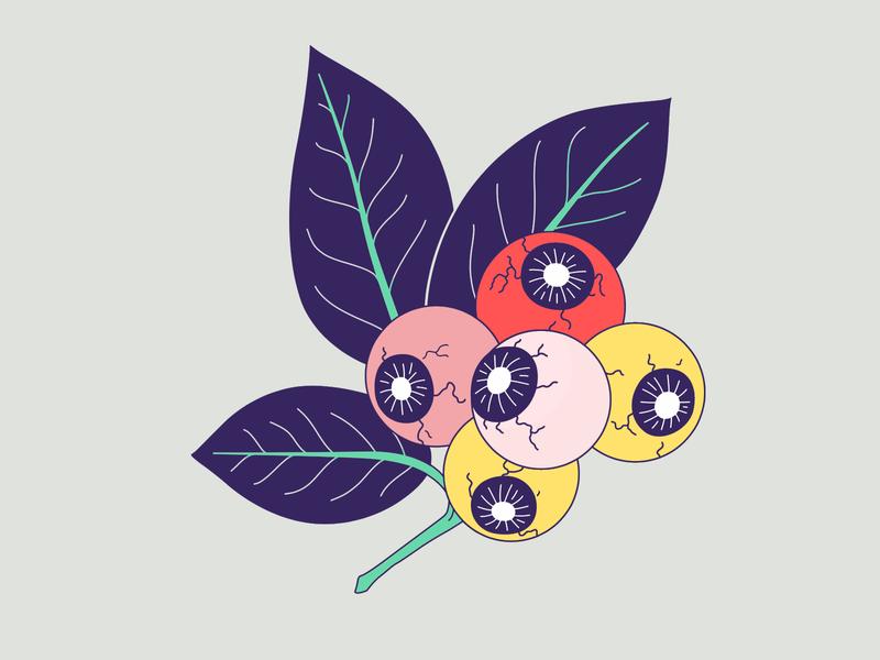 👁 Eyeberry 🍒 eyeball plant leaf violet vector berry eye illustration