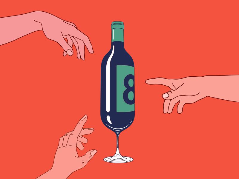 🍷winebottleglass 🍼 wine wineglass eight fingers arms glass handmade bottle illustration