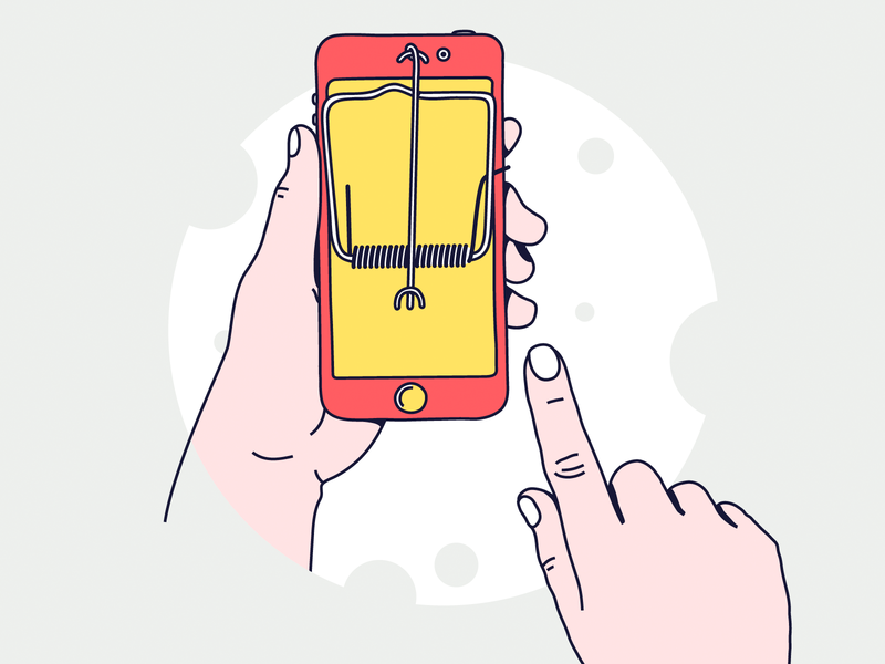 🙅🏻♂️Don't touch your iphone! 🙏 mousetrap mouse cheese vector illustration mobile iphone hand phone