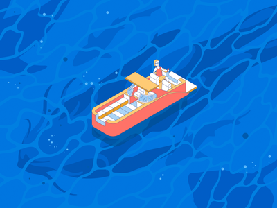 🧜♀️Do you see a mermaid here? 🌊 boat water ocean blue adventure man ship wave mermaid vector illustration