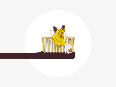🦆 Morning dog hunt hunt 🐕 duck hunt brush your teeth morning duck toothbrush hunting dog illustration